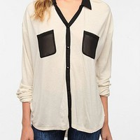 Sparkle & Fade Contrast Chiffon Button-Down Shirt