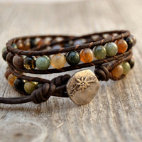 Natural wrap bracelet. Beaded rustic leather wrap. Earthy double wrap bracelet