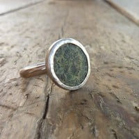 Ancient Roman coin ring  sterling silver ring Unique by anakim