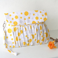 Wristlet Yellow, White and Grey clutch, pleated clutch purse, bridesmaid gift