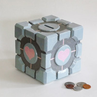 The Companion Cube MADETOORDER Ceramic Coin Bank by jadeflower