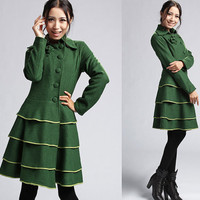 Green wool coat with multi layer skirt hem (407)