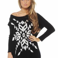 Black Long Sleeve Sweater with Contrast Snow Flake Front