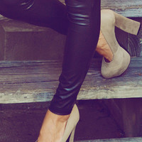 She Has High Standards Pumps: Taupe Suede | Hope&#x27;s