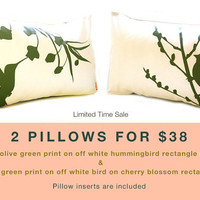 Limited Time Sale 2 Dark Olive Green Print on Off White Bird Pillows for 38