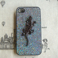 Steampunk lizard bling glitter hard case For Apple iPhone 4 case iPhone 4s case cover