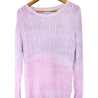 Women's Dip Dye Pastel Purple Pink Ombre Cable Knit Sweater Top Medium