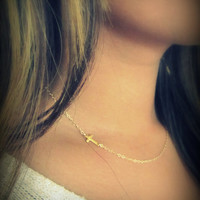 Extra Tiny Gold Sideways Cross Necklace