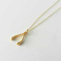 Gold wishbone necklace, make a bigger wish, delicate modern jewelry