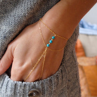 14k gold filled slave bracelet with turquoise