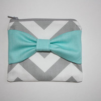 Zipper Pouch / Cosmetic Case - Gray Chevron with Turquoise Bow
