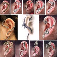 1 PCS Gothic Punk Snake Dragon Fox Tiger Animal Flower Ear Cuff Stud Earring