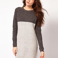 Vila Colourblock Knitted Dress at asos.com