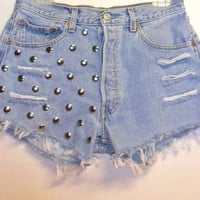 Vintage Levis 501 Button Fly   Denim Shorts with Studs Waist  29  inch