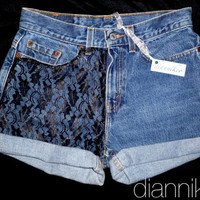 Black Friday Special - 20% off - ANY SIZE Vintage High Waisted Denim Shorts with black lace