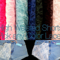 Vintage High Waisted Denim Shorts with ANY COLOR LACE