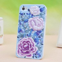 Classical fashion Unique Design Embossing Peony Case for Iphone 4/4s