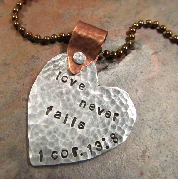 Heart Necklace Handstamped Scripture Love by FiredUpLadiesHammer