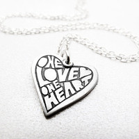 One Love One Heart quote necklace - silver inspirational heart pendant heart jewelry Raw Art Letterpress