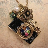 Take a picture. vintage camera necklace adorned with pearl and crystal bead