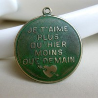 Solid Brass French Charm Green Pati.. on Luulla