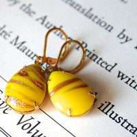 Vintage Yellow and Copper German Glass Jewels, Retro, Glitter, Bright, Unique, Stocking Stuffer, Gift Ideas For Her
