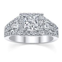 18k White Gold 1 1/6ct TDW Certified Diamond Engagement Ring (I, SI3) | Overstock.com