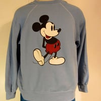 Vintage Classic 80s MICKEY MOUSE DISNEY Soft Cartoon Graphic Unisex Medium Large Poly-Cotton Crewneck Sweatshirt