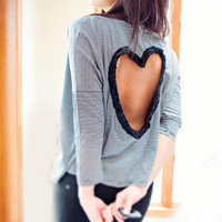 RESERVE for Tiffany ONLY Heart Cut out Shirt Made to order in Black/Tan