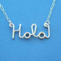 Hola sterling silver wire word necklace by PianoBenchDesigns