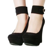 Women's Qupid Black Velvet Ankle Strap Platform Wedge Sandal (Worthy90)