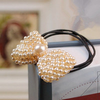 Sweet Handmade Pearl Bow Hair Band Ponytail Holder wholesale