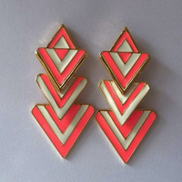 Pink and White Geometric Dangle Earrings wholesale