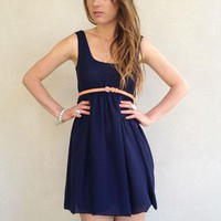 .REDUCED £30.  Aegean Navy Chiffon Bubble Dress from beccaandpeggy