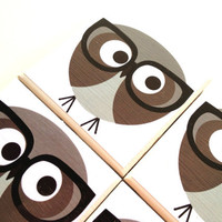 Geek Owl Tile Coasters Set, Ceramic, Black Glasses, Table Drink Protector, Nerd Bird