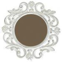 Small Antique White Carved Mirror | zenDeluxe