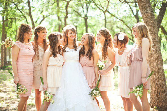 Pale bridesmaid dresses. Love love love!