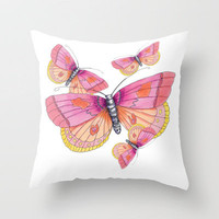 One Butterfly Throw Pillow by Catherine Holcombe | Society6