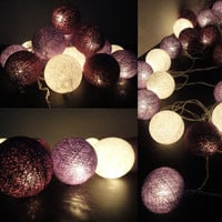 20 Mixed Purple Tone Cotton Balls Fairy String Lights Home Decor Party Patio Wedding Floor Table or Hanging Gift Home Decoration