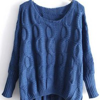 Asymmetric Round Neck Sweater Blue  S006008