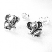 Miniature Elephant Animal Stud Earrings - Sterling Silver