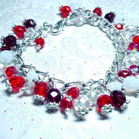 Red & White Czech Crystal  8 Inch Charm Bracelet