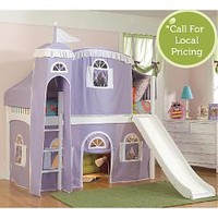 Princess Castle Low Loft Twin Bed in Lilac