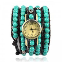 Handmade Turquoise Beads Wrap Watch