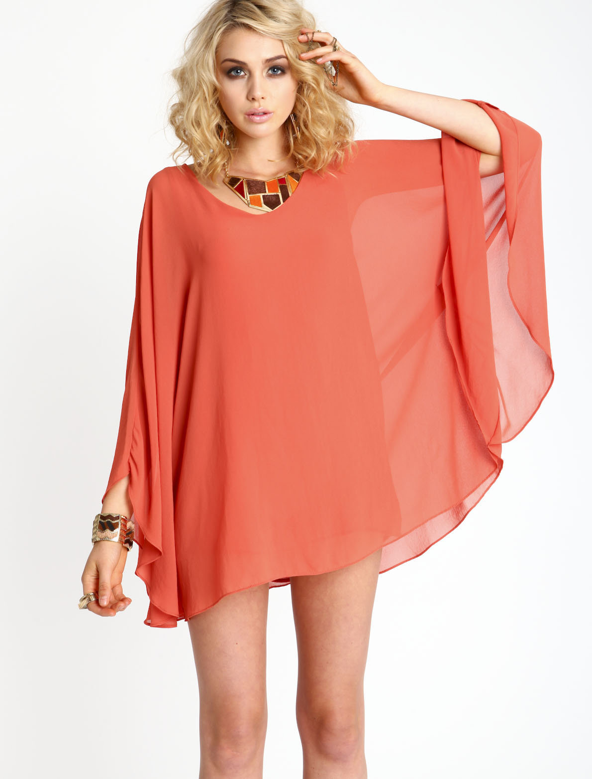 Poncho Chiffon Dress from Love Culture