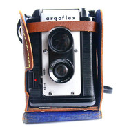 Vintage Argus Argoflex Seventy-Five Camera - Mid Century Box Camera & Brown Case / Retro Photography