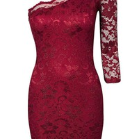 Red One Shoulder Long Sleeve Lace Dress