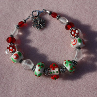Holiday Lampwork Bead Bracelet