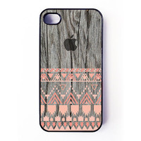 Iphone 4 Case - Geometric Aztec Pattern On Wood iPhone case for iPhone 4 / 4S - plastic or rubber