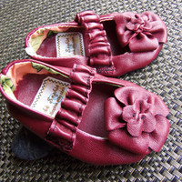 Infant Leather Mary Jane maroon sz 0/6month, 12month,18month